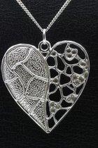 Zilveren Hart design ketting hanger