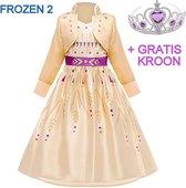 Frozen 2 Anna jurk geel-goud paars 146-152 (150) + GRATIS kroon Prinsessen jurk verkleedkleding