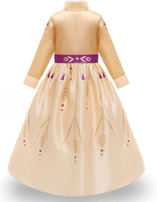 Frozen 2 Anna jurk geel-goud paars 116-122 (120) + GRATIS kroon Prinsessen jurk verkleedkleding