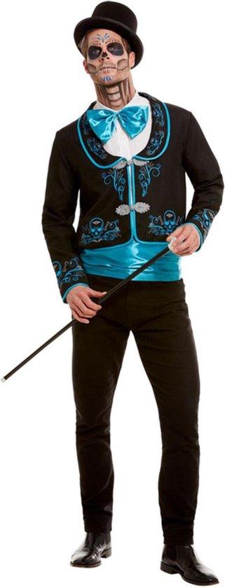 SMIFFYS - Turquoise Dia de los Muertos kostuum voor mannen - XL - Volwassenen kostuums