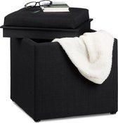 relaxdays - poef met dienblad - hocker opbergruimte - linnen opbergbox, tafeltje zwart