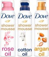 Dove Doucheschuim Geschenkset - 3 x 200 ml - Rose Oil, Cotton oil en Argan oil - Voordeelverpakking