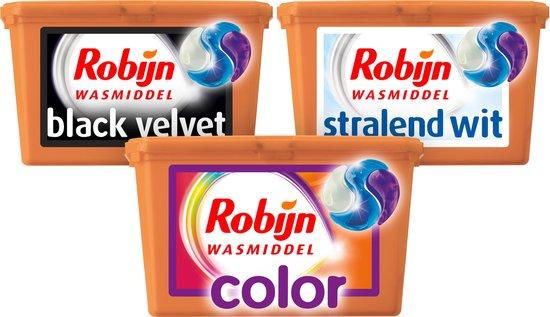 Robijn Wasmiddel 3 in 1 Capsules Kleur, Wit en Zwart - 3 x 15 wasbeurten - Voordeelverpakking