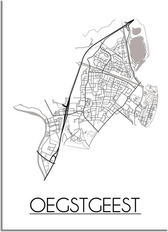 DesignClaud Oegstgeest Plattegrond poster - A2 + fotolijst wit (42x59,4cm)
