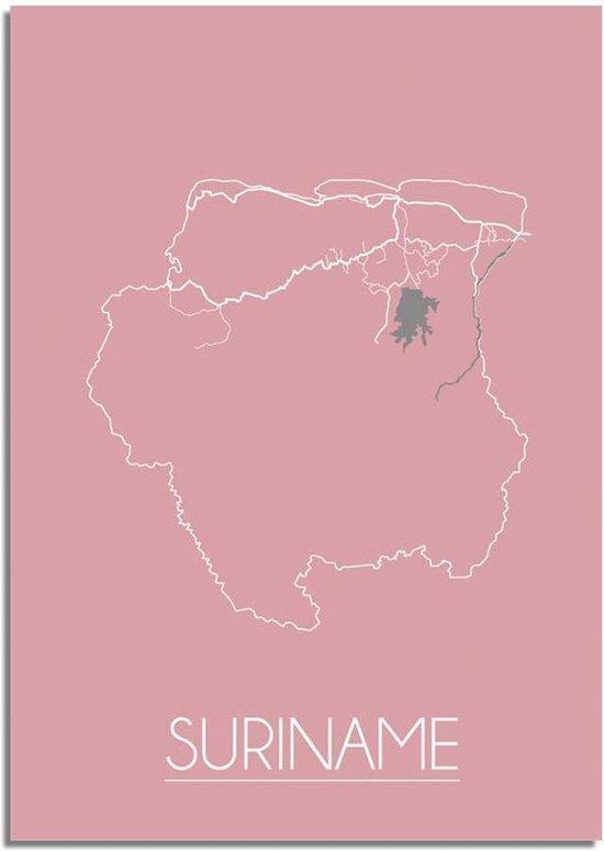 Plattegrond Suriname Landkaart poster DesignClaud - Roze - A2 + fotolijst wit