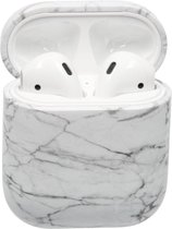 Afbeelding van Bescherm Hoesje Hard Case Cover Wit Marmer voor Apple AirPods 1 en 2