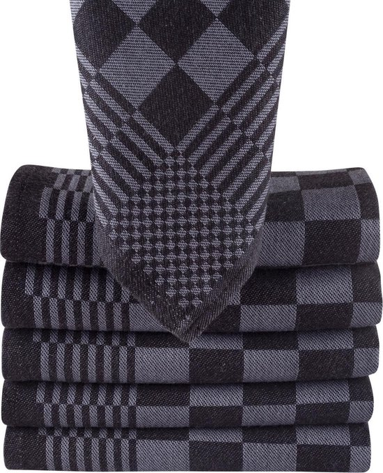Homéé® theedoeken 65x65 cm - Holland Art geblokt - 100% katoen - 6 stuks zwart - antraciet
