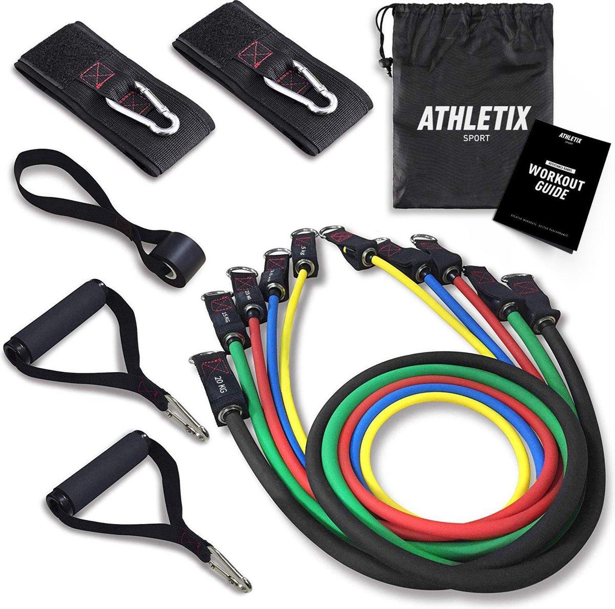 Athletix® - Weerstandsbanden XL Set - Handvaten - Enkelbanden - Gratis Draagtas & Oefeningen - 5 Res