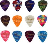 Plectrum set - 12 Celluloid plectrums in de diktes thin 0.46, medium 0.71 en thick 0.96 mm