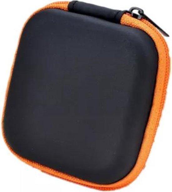Oortjes opberg hoesje - Case - Etui - Organizer - Voor oordopjes en laadkabels - USB - Oranje