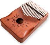 Kalimba met 17 toetsen - Vinger percussie incl. draagtasje - KOFFIEKLEUR