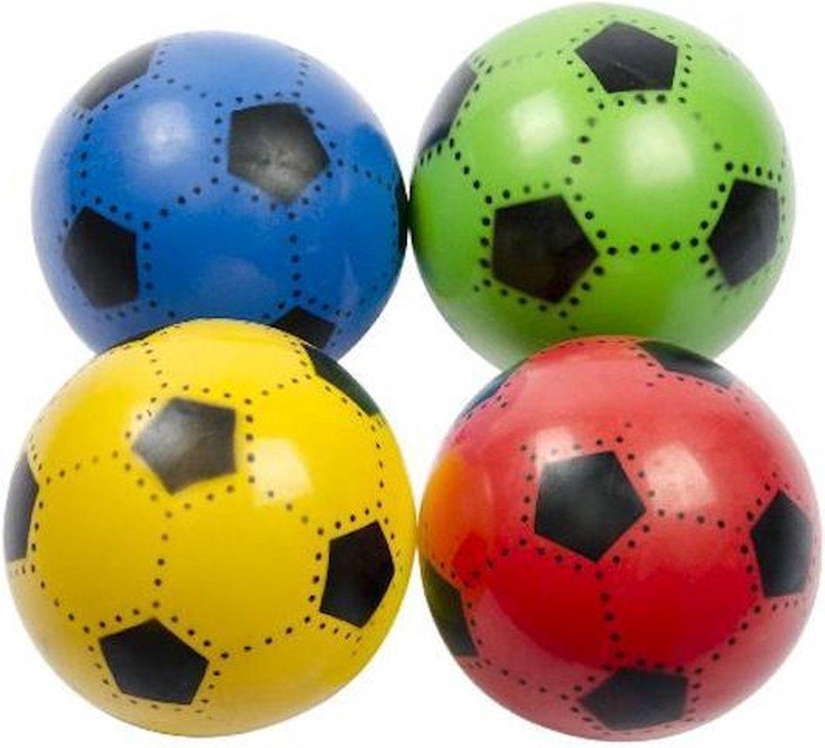 Voetbal bal plastic 4 stuks 23 cm - 90 gram - diverse kleuren - random verzending - rood blauw geel