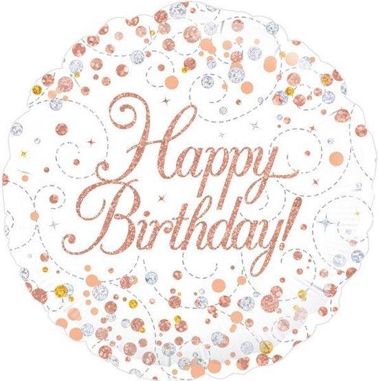 Folie/ballon Sparkling wit Happy Birthday Holograpic