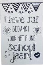 Kaart - Hout - Lieve juf bedankt voor het fijne schooljaar!
