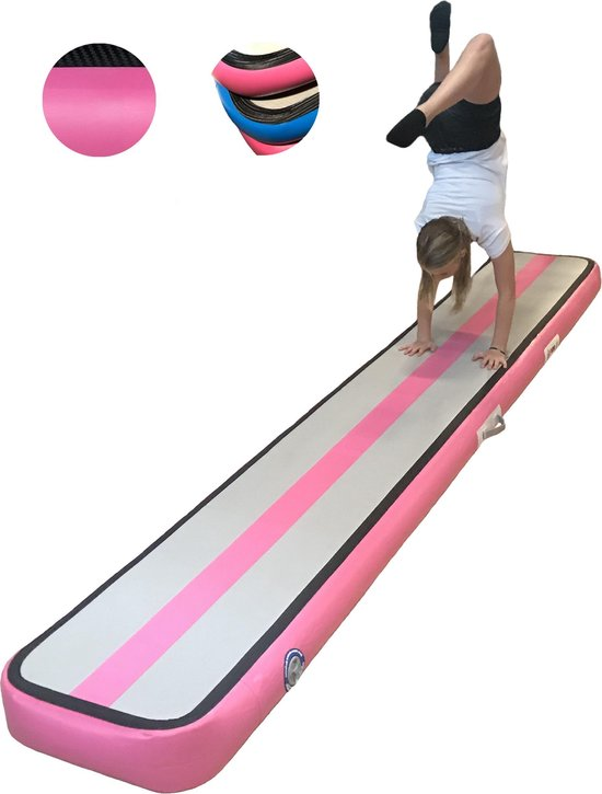 Evenwichtsbalk turnmat | AirTrack AirBeam | Gymnastiek Turnen - 15x55x360cm air balance beam | +50% extra m2 - Mat met pomp