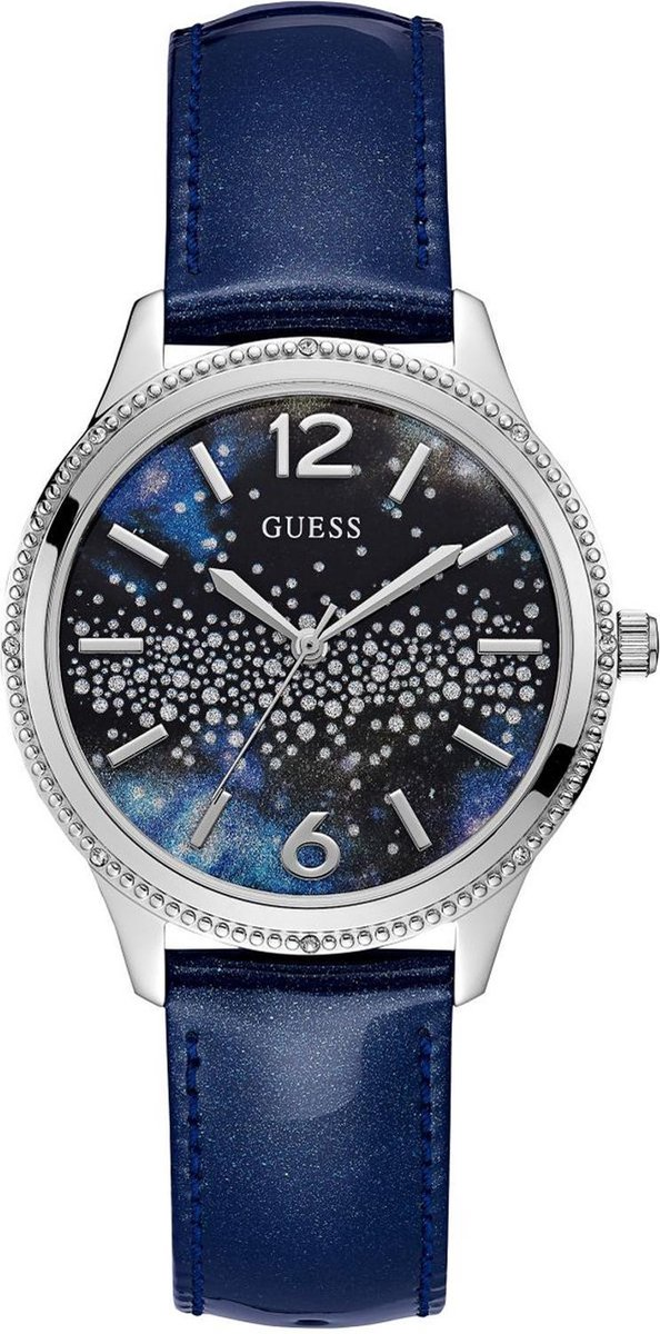 GUESS Watches W1028L1 - Horloge - Dames - Staal - Blauw - ⌀ 39 mm - GUESS