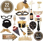 Partizzle® Verjaardag Versiering Photobooth Foto Props - 18, 30, 40, 50 en 60 Jaar - Zwart Goud