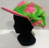 pluche pet - groen met roze bloemen