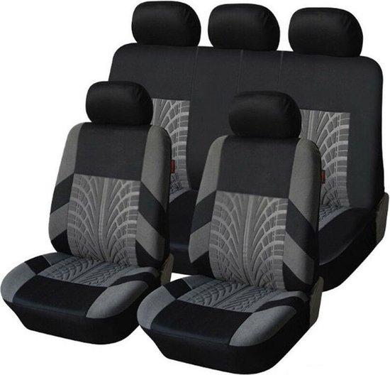 Stoelhoes Auto - Autostoel hoes - Universele Autostoelhoezen Set - 9 Delig - Geschikt voor de meeste modellen - Zwart/Grijs