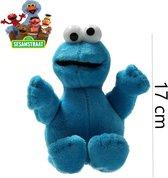 Blauwe pluche Koekiemonster Sesamstraat knuffel/pop 17 cm - Sesame Street - Cookie Monster - Sesamstraat knuffels speelgoed