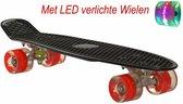 2Cycle Skateboard - LED Wielen - 22.5 inch - Zwart-Rood - Penny Board - Diverse Kleuren