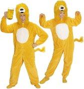 Leeuw & Tijger & Luipaard & Panter Kostuum | Dieren Onesie Pluche Gele Leeuw Kostuum | Medium / Large | Carnaval kostuum | Verkleedkleding
