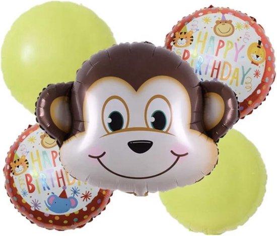 Aap-Folie-Ballonnen-Set(5Stuks)-Jungle safari- 1 + 1 gratis