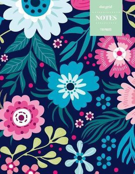 Dot Grid Notes 110 Pages: Vintage Floral Premium Notebook for Professionals and Students, Teachers and Writers - Bright Pink and Blue Floral Pat
