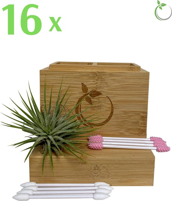 Ecotivity®️ set van 16 stuks Herbruikbare Wattenstaafjes, vastzittende uiteinden en Bewaardoosje - Zero Waste - Milieuvriendelijke Duurzame Oorstokjes - Wit/Roze