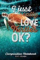 I Just Really Love Turtles OK?: 6'' X 9'' Composition Notebook