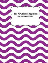 Hex Paper Large 100 Page Composition Notebook: Purple Wavy Lines