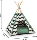 Beeztees Tipi Tent Kioni - Kattenmand - Zwart/Wit/Groen - 50 x 50 x 80 cm