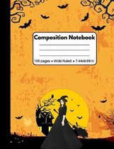 Composition Notebook: Halloween Gifts for Kids: Spooky Witch and Flying Bats Orange 100 Pages Book for Kids Teens School Students And Teache