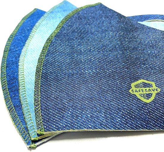 SafeSave denim jeans modieuze wasbaar mondkapje- Herbruikbaar en wasbaar design mondkapjes - 100% neopreen waterdicht materiaal- niet medisch masker- Unisex dames en heren face mask- ov verplicht mondkapjes kopen en bestellen- per 3 stuks verpakt