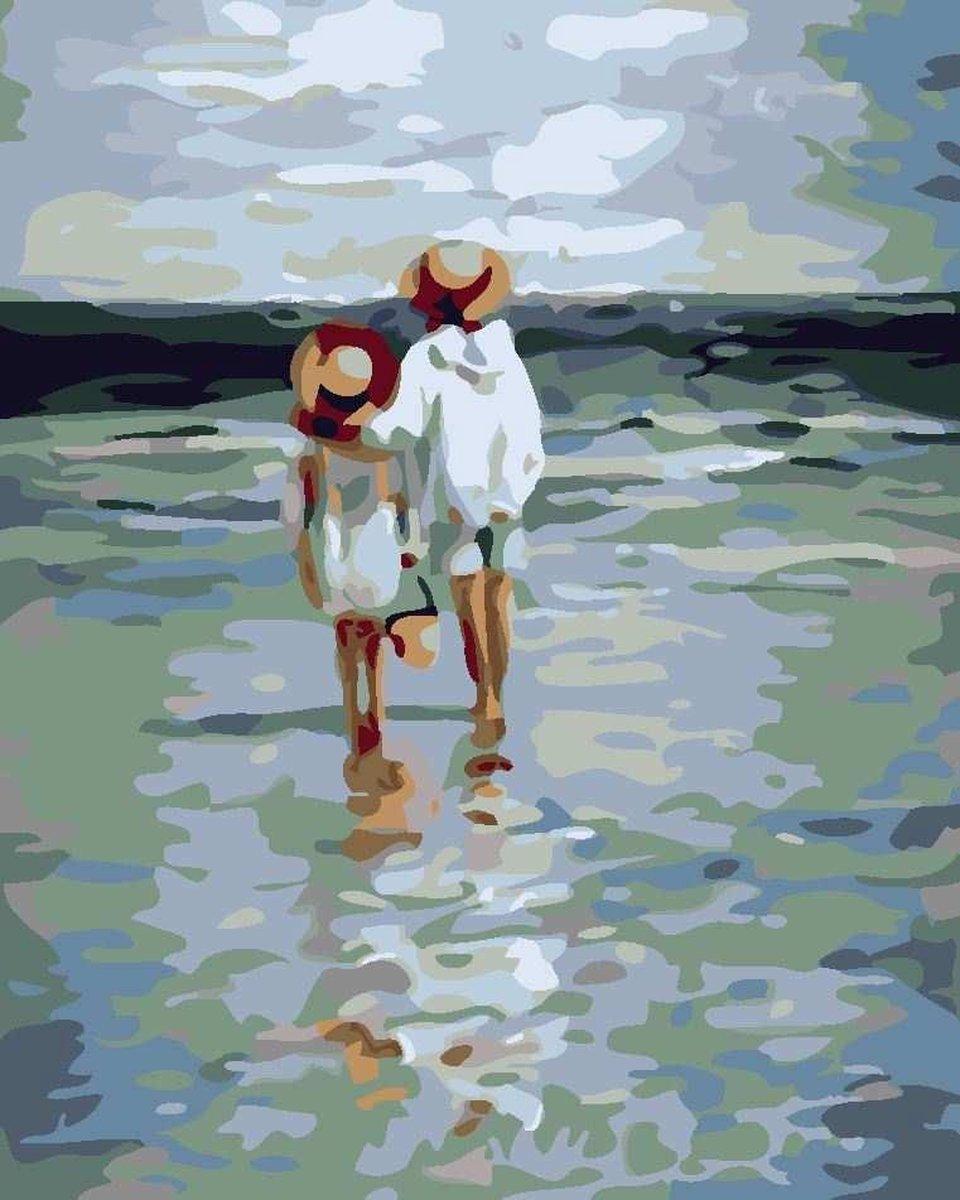 Joeni® Schilderen op nummer - 40x50cm - Landschap: Kinderen op het strand - Volwassenen - Geschenkverpakking