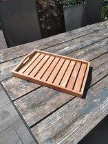 Dienblad hout - Houten dienblad - Theeblaadje - Serveerblad - Serveerplateau - Koffieplateau - Service tray - Plateau - Rechthoek - Decoratoe