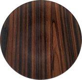 Decoratie bord met hout motief GERRIT - Bruin / Zwart - Kunststof - Ø 32.5 cm