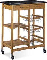 relaxdays keukentrolley bamboe marmerplaat, keukenwagen, serveerwagen serveerboy