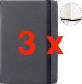 Notitieboek A5 zwart met harde kaft en elastiek - 3 stuks