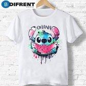 Merkloos / Sans marque T-shirt wit Ohana - familie - dames - vrouw - kleding - mode - shirt - korte mouw '- Dames T-shirt Maat S