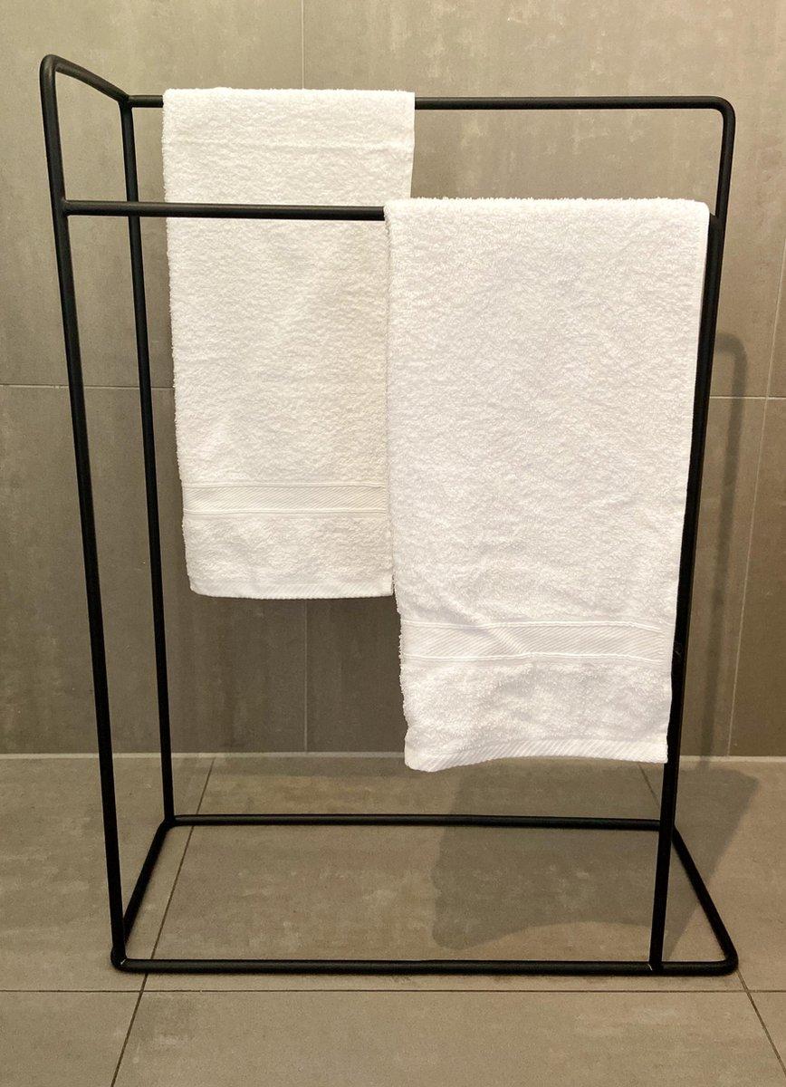 Staande handdoekhouder zwart badkameraccessoires / handdoekenrek / handdoekhouders