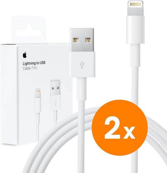 2x Iphone lader Lightning Original Iphone kabel naar USB voor Oplader - 1 Meter Lightning cable - Oplaadkabel voor Apple iPhone XR / XS Max / XS / 8 (Plus) / 7 / 6 + voor Apple iPad 9