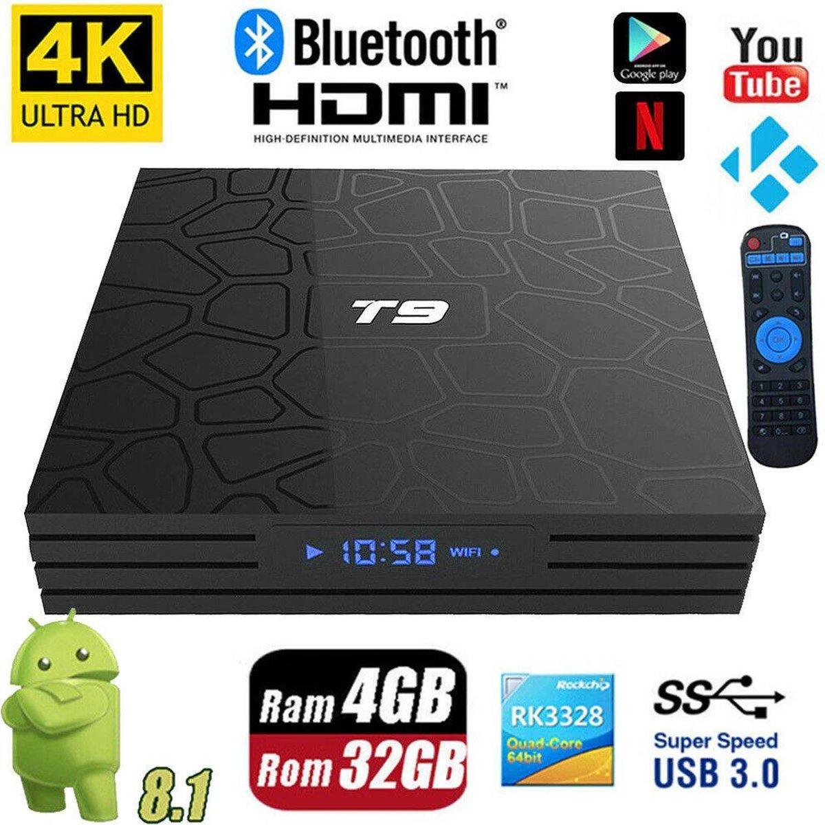 DrPhone AT9 – Android 9.0 TV Box – Mediaplayer – 4K Ultra HD –  4GB RAM – 32GB Opslag – Bluetooth 4.0 Quad-Core – Netflix / Wifi – Maakt TV Slim