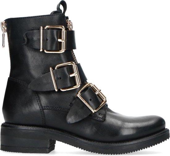 Sacha Dames Zwarte biker boots met gouden gespen Maat 40
