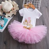 3 in 1 set Cakesmash outfit - First Birthday outfit - Eerste verjaardag - Een jaar tutu dress - Babykleding - Leuke cadeau 1 jaar - Photoshoot jurk set - my 1st bday cupcake korte mouw licht roze