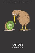 Kiwi bird next to kiwi fruit Calendar 2020