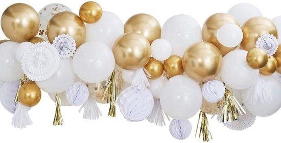 Luxe Ballonnen Boog Goud Wit - 80 Stuks – Confetti Helium Ballonnen – Bruiloft Wedding Verjaardag Party Decoratie Thema Feest Ballonnenboog - GInger Ray - i-Presents
