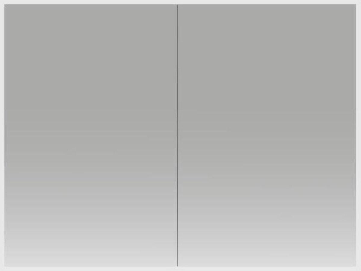 Spiegelkast Quatro 100x70x13cm Aluminium Geintegreerde LED Verlichting Sensor Lichtschakelaar Stopcontact Glazen Planken