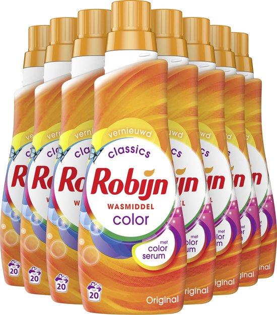 Robijn Klein & Krachtig Color Vloeibaar Wasmiddel - 8 x 20 wasbeurten - Voordeelverpakking