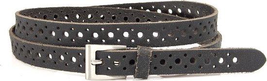 Damesceintuur zwart crackle 2 cm breed - Zwart - Casual - Leer/Nubuck - Taille: 95cm - Totale lengte riem: 110cm - Vrouwen riem